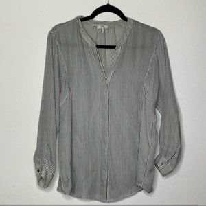 Joie White and Black Silk Top